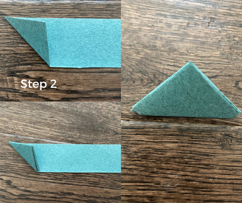 step 2- zongzi rice dumpling origami how to, fold the strip into triangles