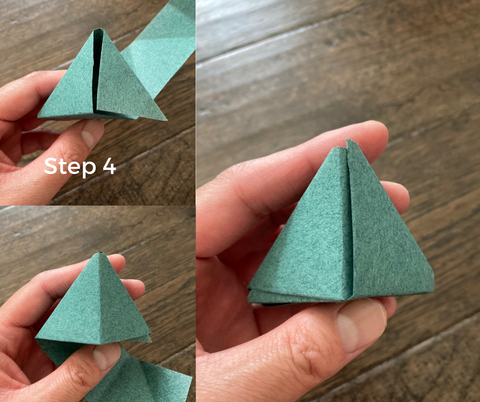 step 4- zongzi rice dumpling origami how to, create the triangle 3d shape