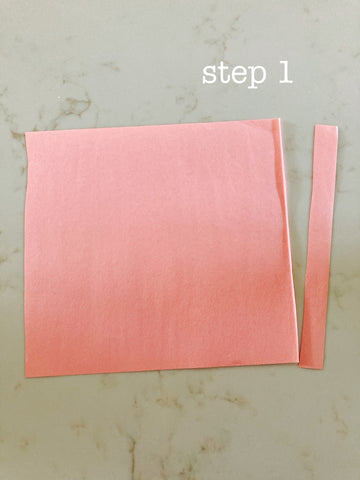 step 1- lantern how to, cut strip off end of paper