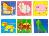 Chinese Bilingual 6 in 1 Wooden Cube Puzzles - Farm Animals