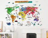 Chinese Bilingual Continents & Oceans World Map Wall Decals