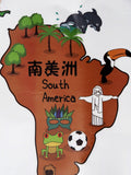 Chinese Bilingual Continents & Oceans World Map Wall Decals- Zoomed in View