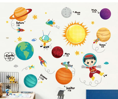 Chinese Bilingual Solar System Wall Decals