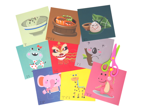 100 Piece Chinese Bilingual Craft Paper (Animals, Food, Holidays)