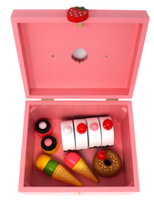 Load image into Gallery viewer, Deluxe Wooden Dessert Play Food Set- Interior View
