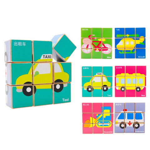 Chinese Bilingual 6 in 1 Wooden Cube Puzzles - Transportation