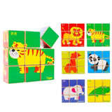 Chinese Bilingual 6 in 1 Wooden Cube Puzzles - Zoo Animals