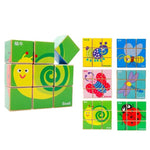 Chinese Bilingual 6 in 1 Wooden Cube Puzzles - Bugs
