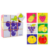 Chinese Bilingual 6 in 1 Wooden Cube Puzzles - Fruit