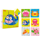 Chinese Bilingual 6 in 1 Wooden Cube Puzzles - Ocean Animals