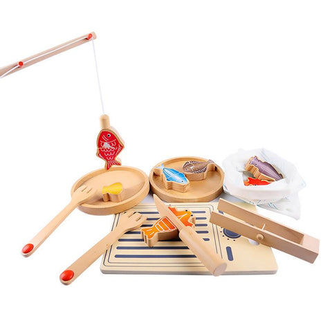 Wooden Seafood Grill & Fishing Set