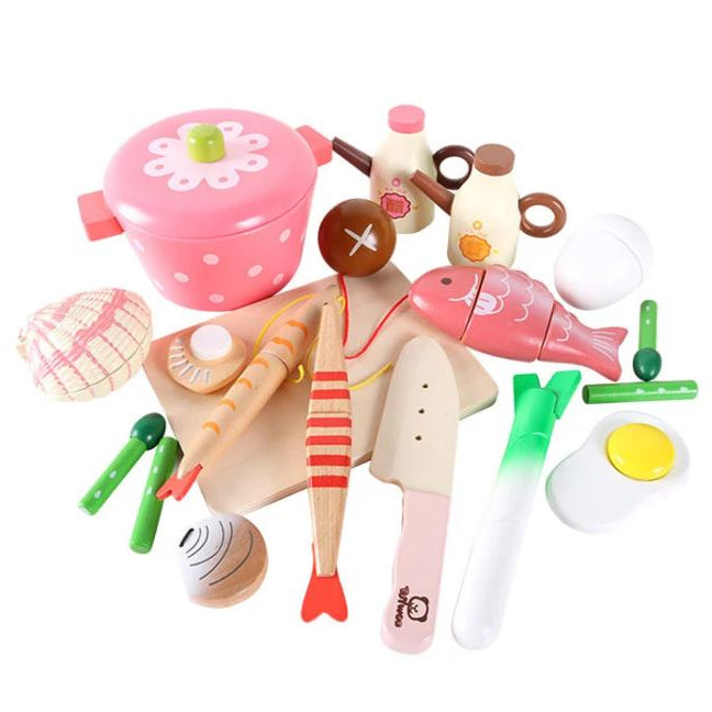 deluxe wooden hot pot set tiny sponge