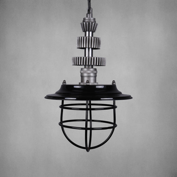Vintage Industrial Light with Gears & Cage