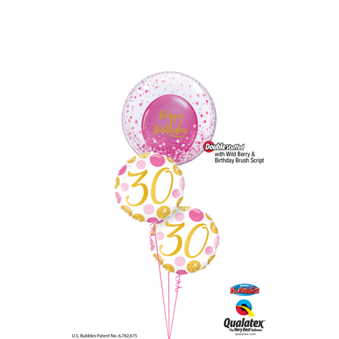 BALLOON BOUQUET - PINK & GOLD CONFETTI BIRTHDAY-BALLOON BOUQUET-Partica Party