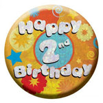 BIRTHDAY BADGE - 2ND BIRTHDAY - 5.5CM-BADGE-Partica Party