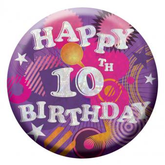 BIRTHDAY BADGE - HAPPY 10TH BIRTHDAY - 5.5CM-BADGE-Partica Party