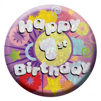 BIRTHDAY BADGE - HAPPY 1ST BIRTHDAY - 5.5CM-BADGE-Partica Party