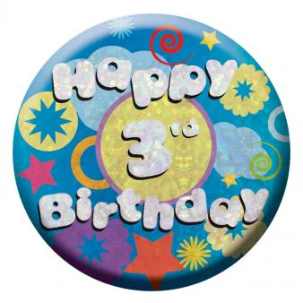 BIRTHDAY BADGE - HAPPY 3RD BIRTHDAY - 5.5CM-BADGE-Partica Party