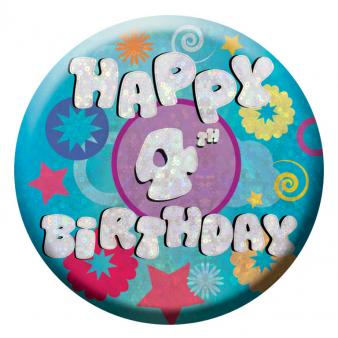 BIRTHDAY BADGE - HAPPY 4TH BIRTHDAY - 5.5CM-BADGE-Partica Party