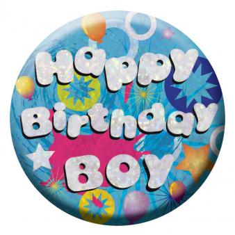 BIRTHDAY BADGE - HAPPY BIRTHDAY BOY - 5.5CM-BADGE-Partica Party