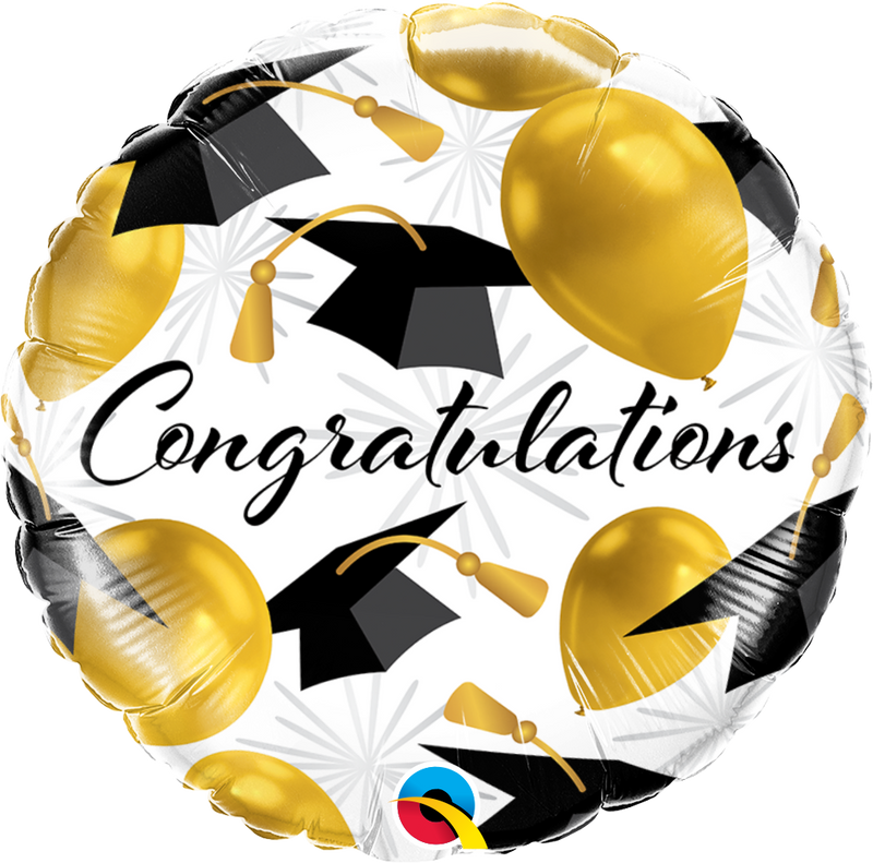 CONGRATULATIONS GOLD BALLOONS-GRADUATION BALLOONS-Partica Party