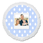 "CUSTOM 22"" PHOTO BALLOON - BLUE RAINDROPS PHOTO FRAME-PHOTO BALLOON-Partica Party"