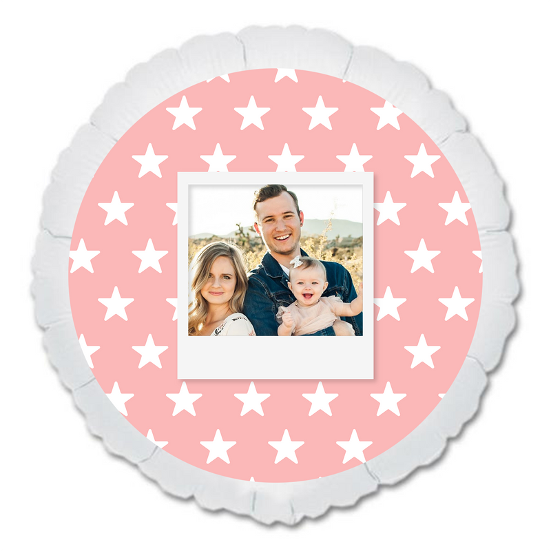 "CUSTOM 22"" PHOTO BALLOON - PINK STARS PHOTO FRAME-PHOTO BALLOON-Partica Party"
