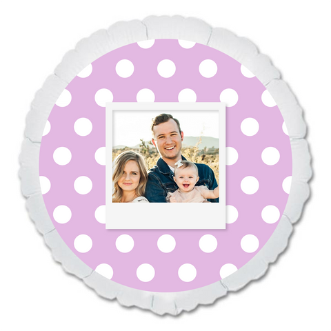 "CUSTOM 22"" PHOTO BALLOON - PURPLE DOTS PHOTO FRAME-PHOTO BALLOON-Partica Party"