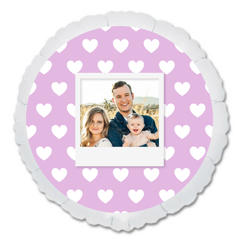 "CUSTOM 22"" PHOTO BALLOON - PURPLE HEARTS PHOTO FRAME-PHOTO BALLOON-Partica Party"