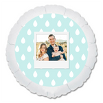 "CUSTOM 22"" PHOTO BALLOON - TEAL RAINDROPS PHOTO FRAME-PHOTO BALLOON-Partica Party"