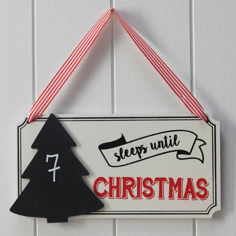 FESTIVE SLEEPS UNTIL CHRISTMAS CHALKBOARD SIGN - VINTAGE NOEL-DECORATION-Partica Party