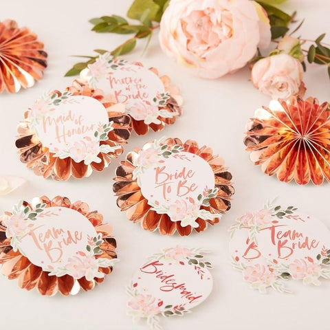 FLORAL HEN PARTY - TEAM BRIDE BADGES-BADGE-Partica Party