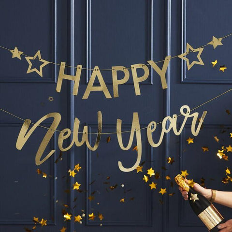 GOLD HAPPY NEW YEAR BANNER-BANNER-Partica Party