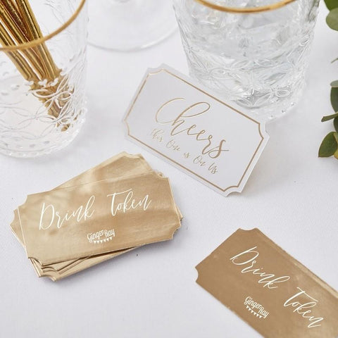 GOLD WEDDING - GOLD WEDDING DRINK TOKENS-MISC-Partica Party