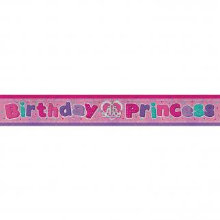 HAPPY BIRTHDAY BANNER - HOLOGRAPHIC BIRTHDAY PRINCESS-BANNER-Partica Party
