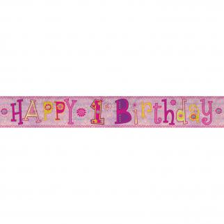 HAPPY BIRTHDAY BANNER - PINK - HAPPY 1ST BIRTHDAY-BANNER-Partica Party