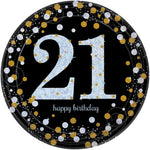 PAPER PLATES - 21 GOLD - PACK OF 8-PLATES-Partica Party