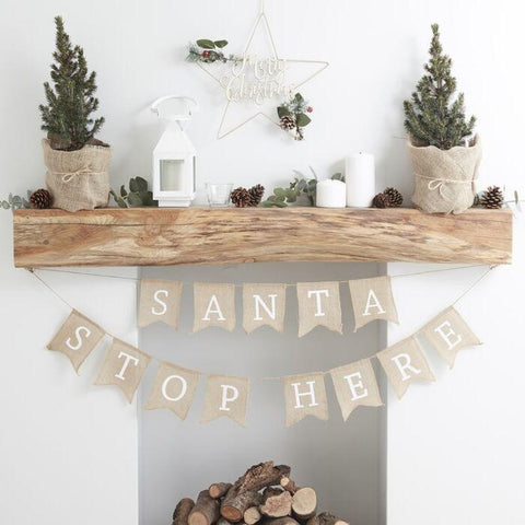 SANTA STOP HERE BUNTING-DECORATION-Partica Party