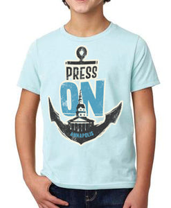 PRESS ON Annapolis • YOUTH Shirt (ice blue) PRE-ORDER