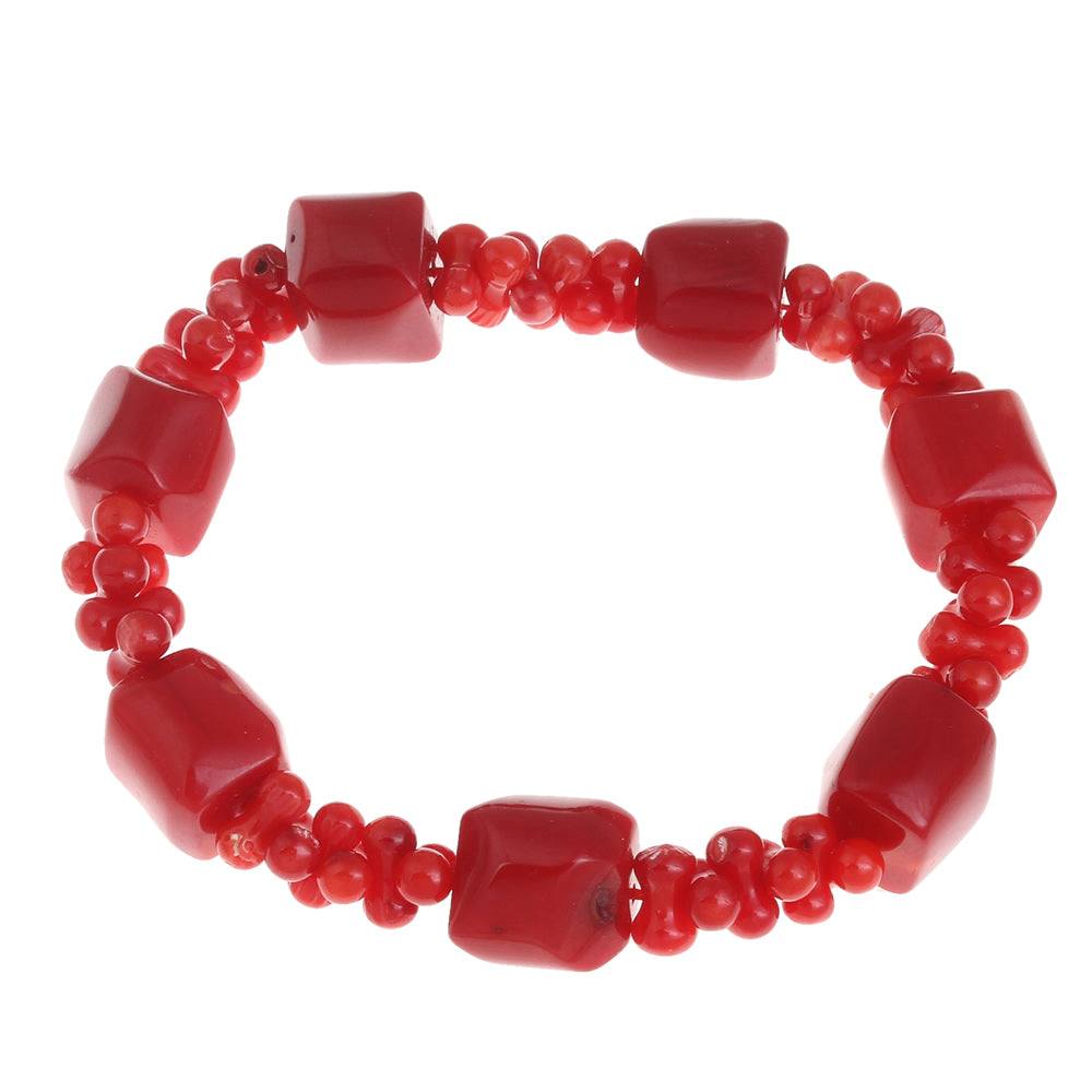 Coral Bracelet with Barrel Beads