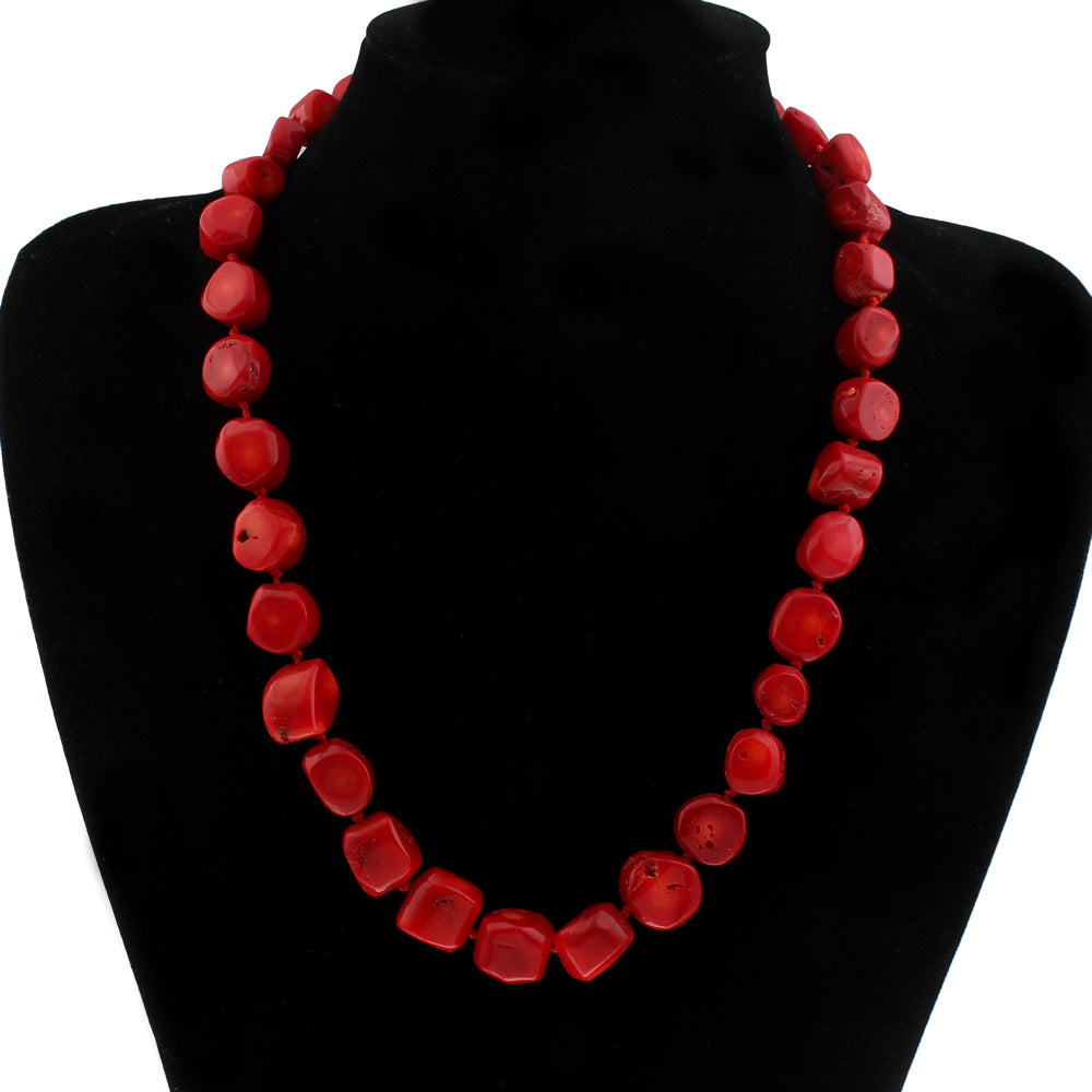 Coral Necklace with Toggle Clasp