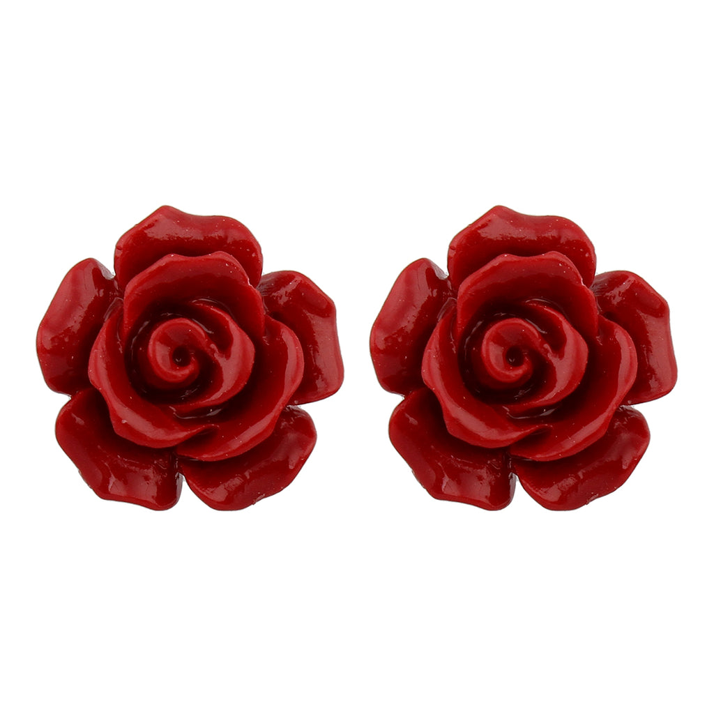 Coral Rose Bud Studs