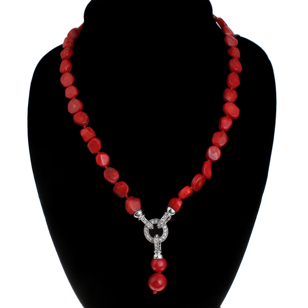 Coral Necklace with CZ Clasp and Removable Pendant