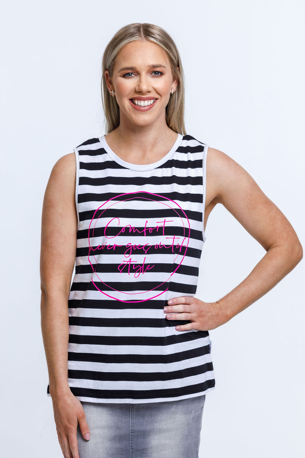 Taylor Singlet- Black & White Stripes