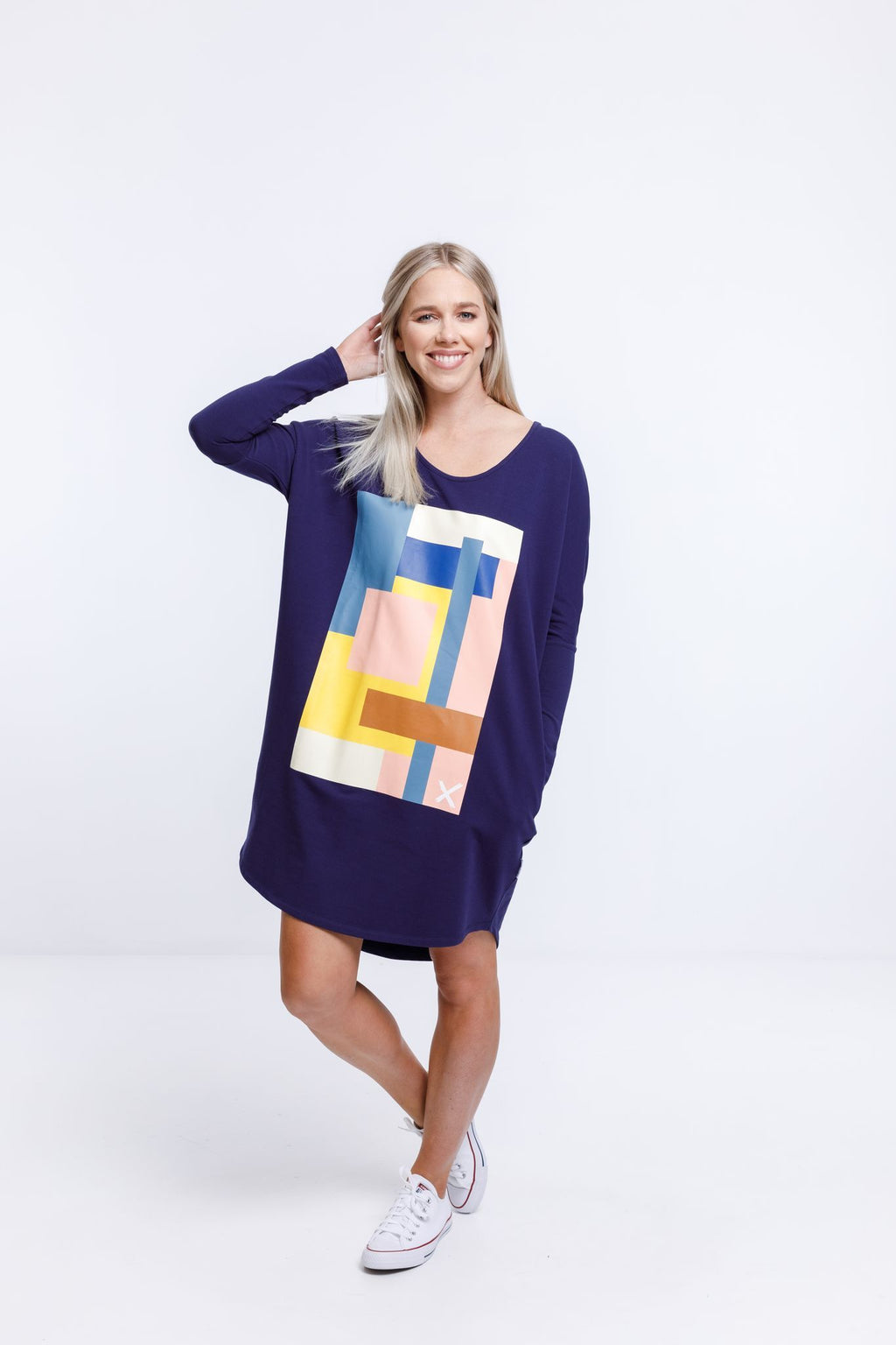 Batwing Dress- Evening Blue w Abstract Print