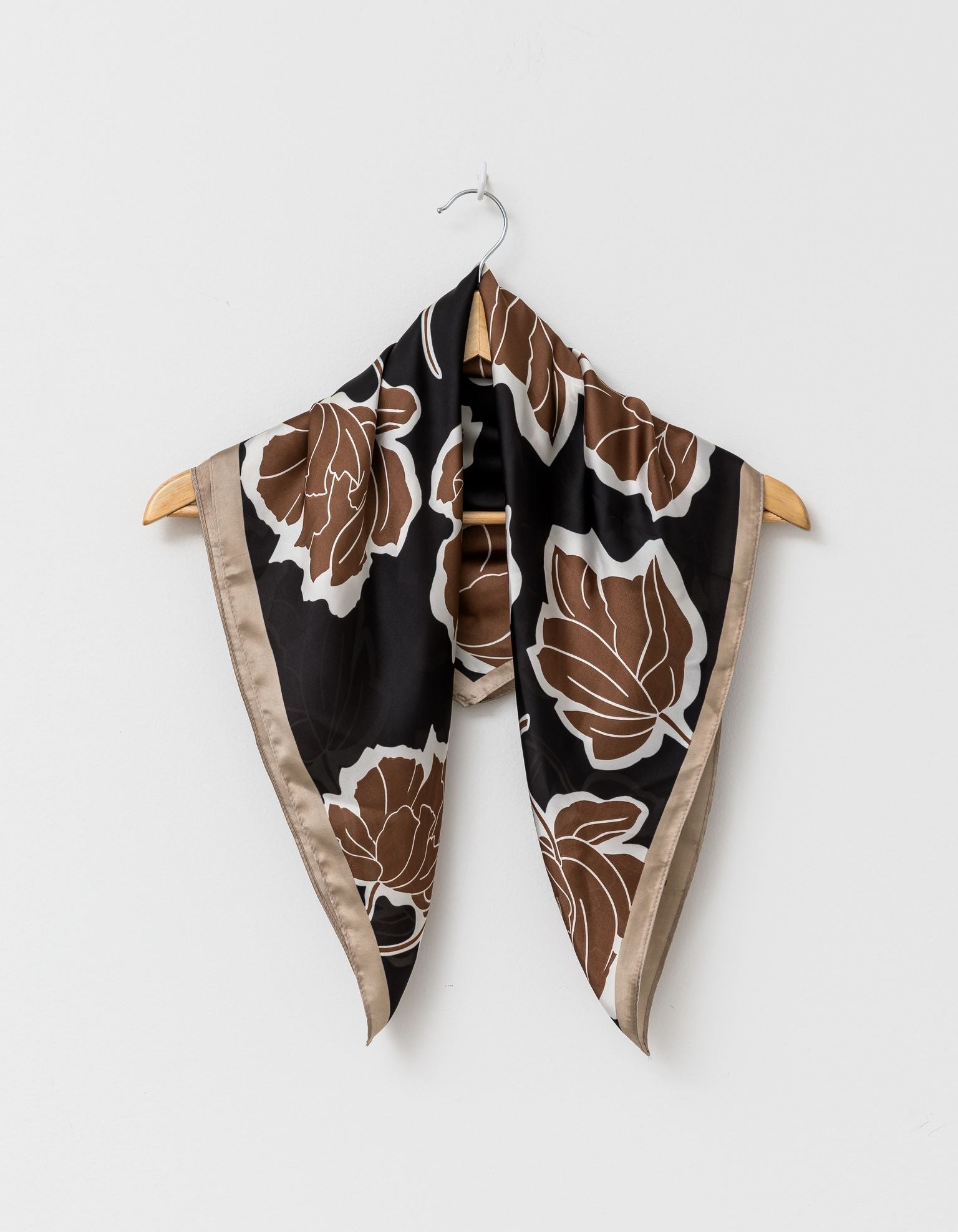 Black/ Camel Foliage Square Scarf