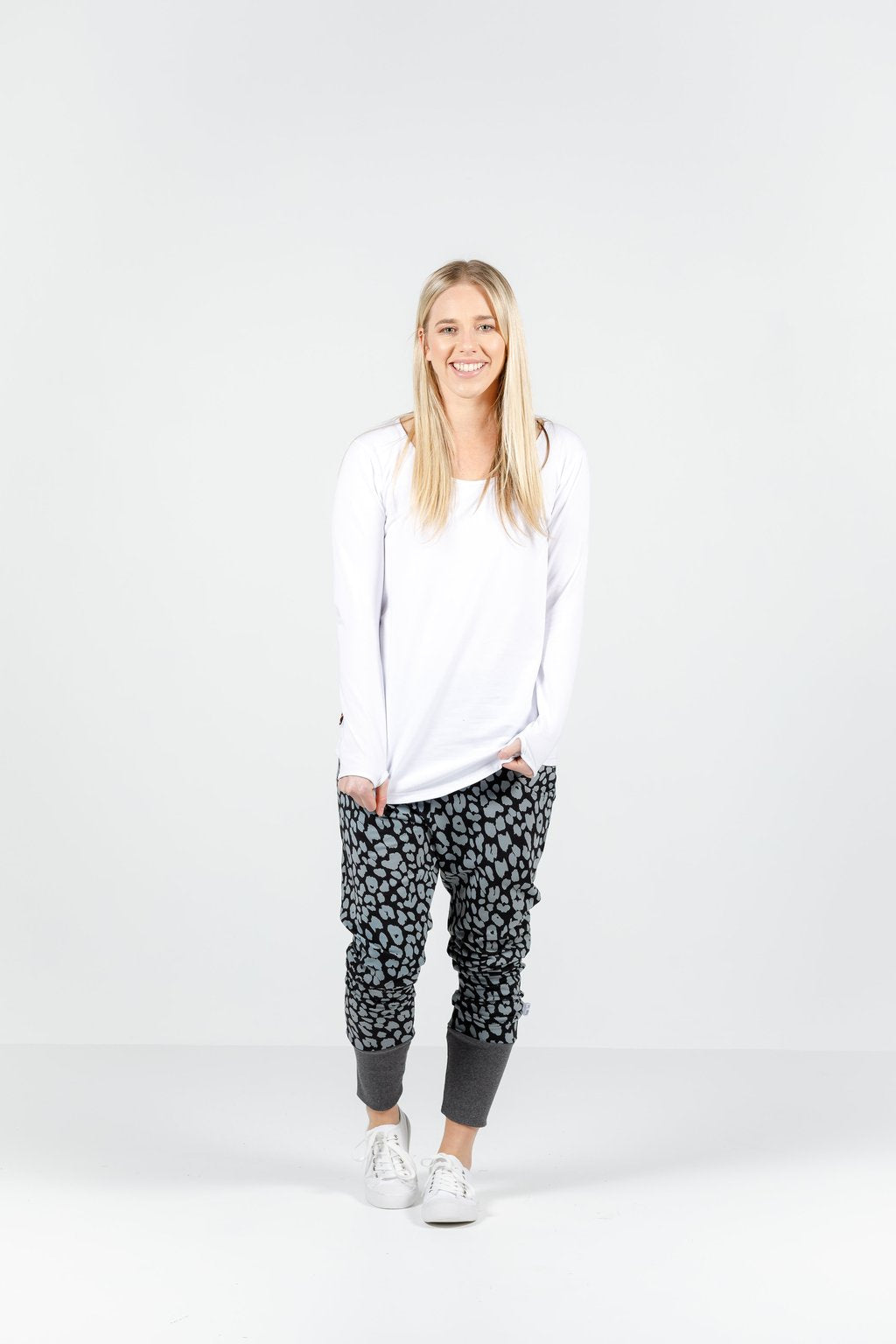 Apartment Pants- Black/Grey Leopard Print