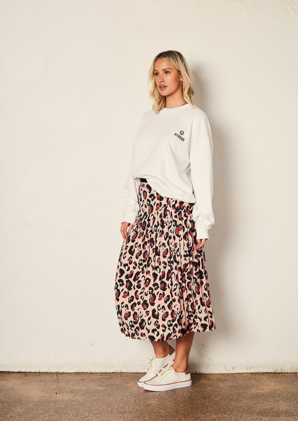 Leopard Knifepleat Skirt
