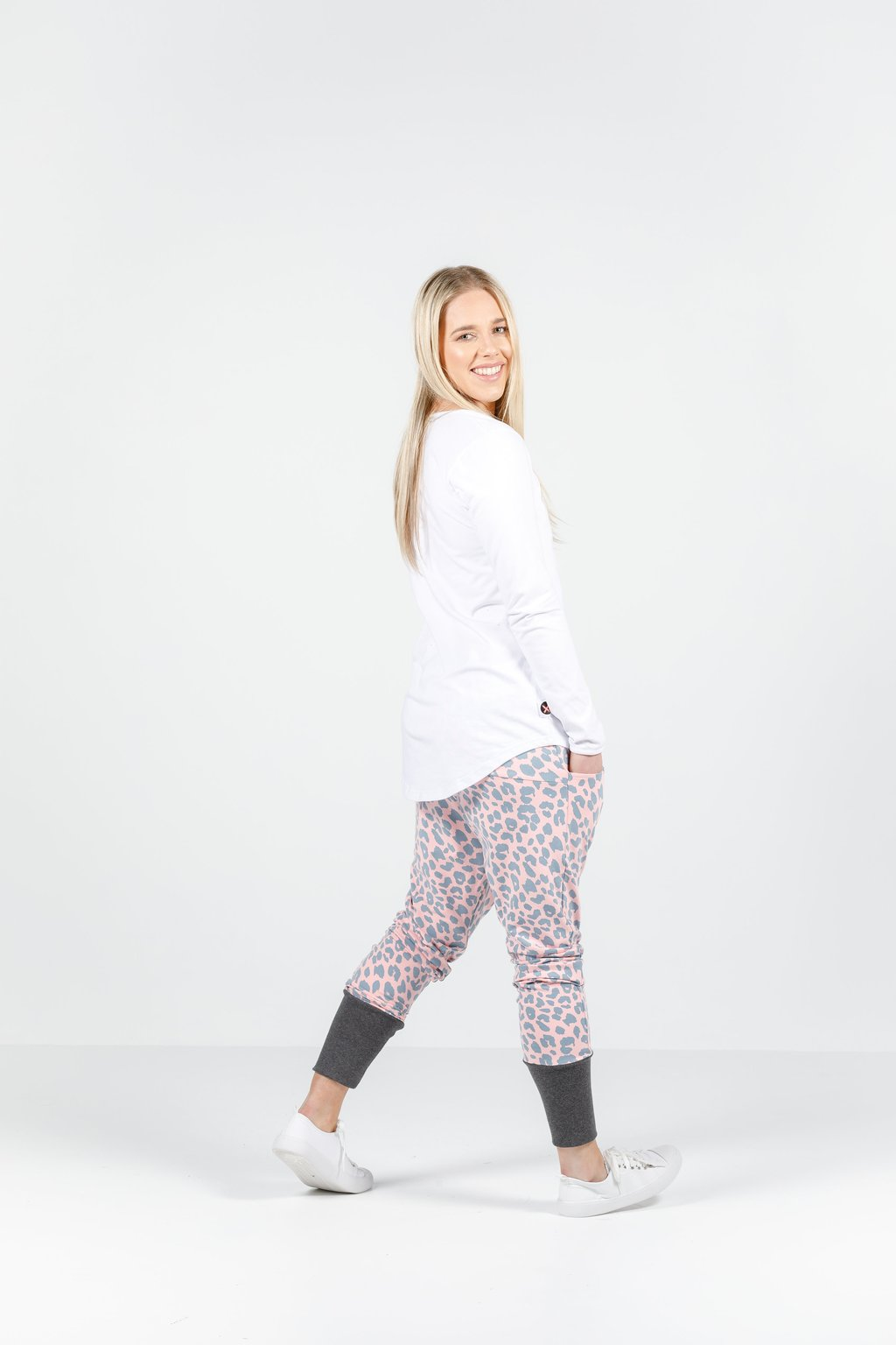 Apartment Pants- Pink/Grey Leopard Print