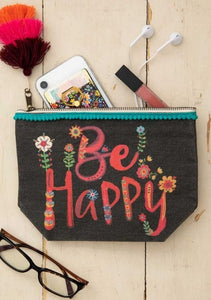 Cosmetic Pouch Canvas Be Happy Black